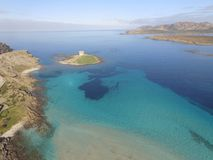 Aerial view, the beach in Sardinia, crystal clear water, Italy. Aerial view, the beach in Sardinia, crystal clear water, Stintino, La Pesolsa, Italy Stock Photos