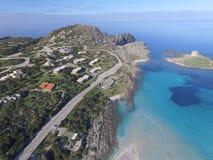 Aerial view, the beach in Sardinia, crystal clear water, Italy. Aerial view, the beach in Sardinia, crystal clear water, Stintino, La Pelosa, Italy Stock Photos