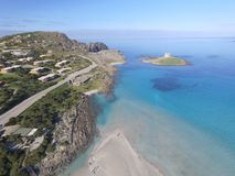 Aerial view, the beach in Sardinia, crystal clear water, Italy. Aerial view, the beach in Sardinia, crystal clear water, Stintino, La Pelosa, Italy Royalty Free Stock Images