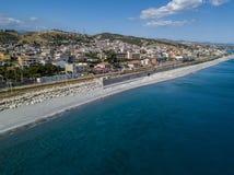 Aerial view beach and sea of Melito di Porto Salvo, Calabria. Italy Royalty Free Stock Image