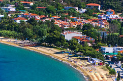 Aerial view of a beach at small greek village Toroni in Sithonia. Greece Stock Photo