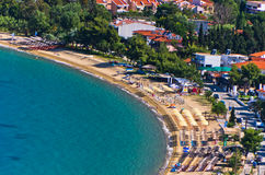 Aerial view of a beach at small greek village Toroni in Sithonia. Greece Royalty Free Stock Image