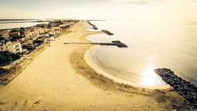 Aerial View Of A Beach. In southern france along the mediterranean coast, near sete stock photo