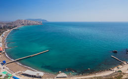 Aerial view on the beach of Sudak Stock Photography