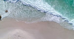 Aerial view of beach on a sunny day 4k. Aerial view of beautiful beach on a sunny day 4k stock footage