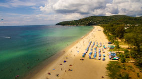 Aerial view of a beach in Thailand. Such a nice sunny day on the beach Royalty Free Stock Photography