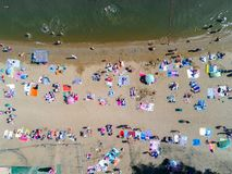 Beach with tourists. Aerial view on the beach with tourists Stock Image
