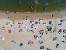 Beach with tourists. Aerial view on the beach with tourists Royalty Free Stock Photo