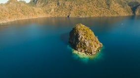 Aerial view tropical lagoon,sea, beach. Tropical island. Busuanga, Palawan, Philippines. Aerial view: beach, tropical island, sea bay and lagoon, Palawan stock video