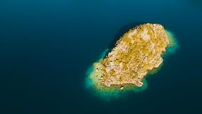 Aerial view tropical lagoon,sea, beach. Tropical island. Busuanga, Palawan, Philippines. Aerial view: beach, tropical island, sea bay and lagoon, Palawan stock footage