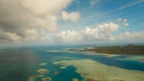 Aerial view tropical lagoon,sea, beach. Tropical island. Siargao, Philippines. Aerial view: beach, tropical island, sea bay and lagoon, Siargao. Tropical stock video footage