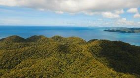 Aerial view tropical lagoon,sea, beach. Tropical island. Siargao, Philippines. stock photo
