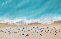 Aerial view at the beach. Turquoise water background from top view. Summer seascape from air.