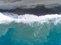 Aerial view beach and waves. Aerial view of beach and waves stock photo