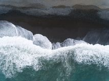 Aerial view beach and waves. Aerial view of beach and waves royalty free stock photography