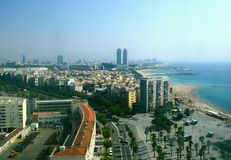 Aerial View Of The Barceloneta Beach From The Cable Car  Royalty Free Stock Photos