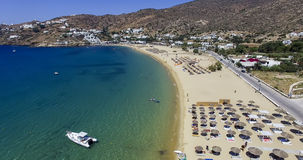 Aerial view of the beaches of Greek island of Ios island, Cyclad. Ios, Greece - September 19, 2015: Aerial view of the beaches of Greek island of Ios island Stock Photography