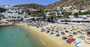 Aerial view of the beaches of Greek island of Ios island, Cyclad Stock Photos
