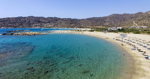 Aerial view of the beaches of Greek island of Ios island, Cyclad. Ios, Greece - September 19, 2015: Aerial view of the beaches of Greek island of Ios island Royalty Free Stock Photo