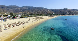 Aerial view of the beaches of Greek island of Ios island, Cyclad. Ios, Greece - September 19, 2015: Aerial view of the beaches of Greek island of Ios island Royalty Free Stock Photos