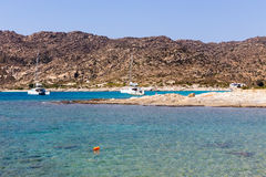 Aerial view of the beaches of Greek island of Ios island, Cyclades Stock Photography