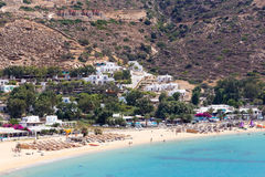 Aerial view of the beaches of Greek island of Ios island, Cyclades Stock Images