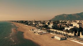 Aerial view of beachfront area of Terracina in winter. Italy stock image