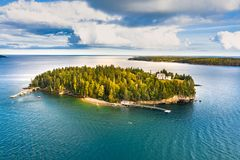 Aerial view of Bear Island stock photos