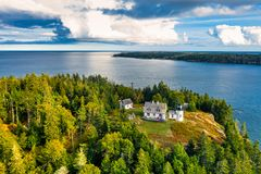 Aerial view of Bear Island Lighthouse. Aerial view of Bear Island Lighhouse. Bear Island and the Bear Island Lighthouse are located in the community of Cranberry stock image