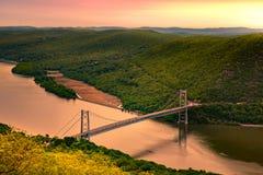 Aerial view of Bear Mountain Bridge at sunrise Royalty Free Stock Photos