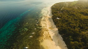 Aerial view beautiful Alona beach on a tropical island Bohol. Philippines. stock video