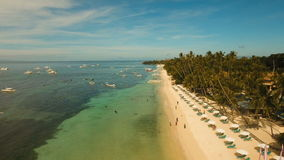 Aerial view beautiful Alona beach on a tropical island Bohol. Philippines. Aerial view of tropica Alona beach on the island Bohol, resort, hotels, Philippines stock footage