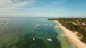 Aerial view beautiful Alona beach on a tropical island Bohol. Philippines. stock video footage