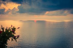 Aerial view of beautiful amazing sea sunset with color dramatic stock images