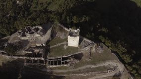 Aerial view of beautiful Anacopia fortress of Abkhazia on sunny summer day stock video footage