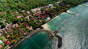 Aerial view of the beautiful bay in Candidasa Beach. Aerial view of the beautiful bay in Candidasa Beach, Bali, Indonesia stock photos
