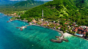 Aerial view of the beautiful bay in Candidasa Beach. Bali, Indonesia royalty free stock images