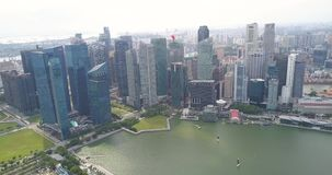 Aerial view of beautiful bay with financial district in Singapore stock footage