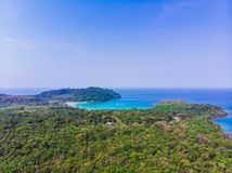 Aerial view of beautiful beach and sea with coconut palm tree Royalty Free Stock Photos
