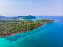 Aerial view of beautiful beach and sea with coconut palm tree Stock Photography