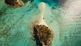 Aerial view beautiful beach on a tropical Bulog Dos Island. Philippines. stock video