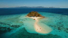 Aerial view beautiful beach on a tropical Bulog Dos Island. Philippines. stock footage