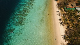 Aerial view beautiful beach on a tropical island Banana. Philippines. stock video footage