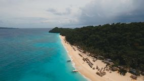 Aerial view beautiful beach on tropical island. Boracay island Philippines. Aerial view of beautiful tropical island with white sand beach and tourists. Puka stock video