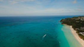 Aerial view beautiful beach on tropical island. Boracay island Philippines. stock footage