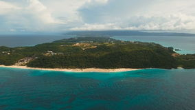 Aerial view beautiful beach on tropical island. Boracay island Philippines. Aerial view of beautiful tropical island with white sand beach, and tourists. Puka stock footage