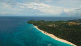 Aerial view beautiful beach on tropical island. Boracay island Philippines. stock video