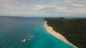 Aerial view beautiful beach on tropical island. Boracay island Philippines. stock footage