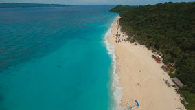 Aerial view beautiful beach on tropical island. Boracay island Philippines. stock video footage