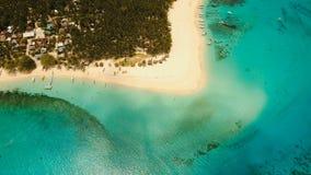 Aerial view beautiful beach on tropical island. Daco island, Philippines, Siargao. stock video